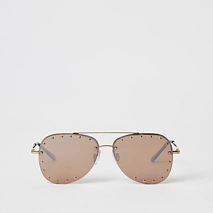Gold studded rimless sunglasses