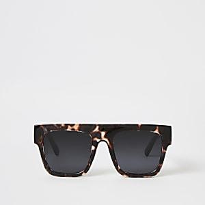 Bruine visor zonnebril met schildpadprint