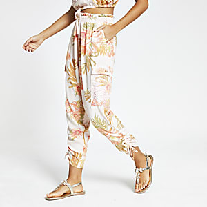 Pantalon de plage rose imprimé tropical
