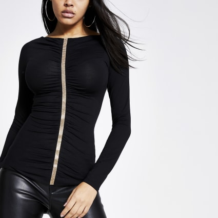 Black diamante ruched front long sleeve top