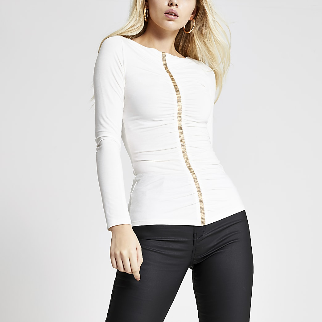Cream diamante ruched front long sleeve top