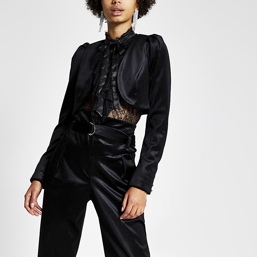 Black velvet cropped long sleeve jacket