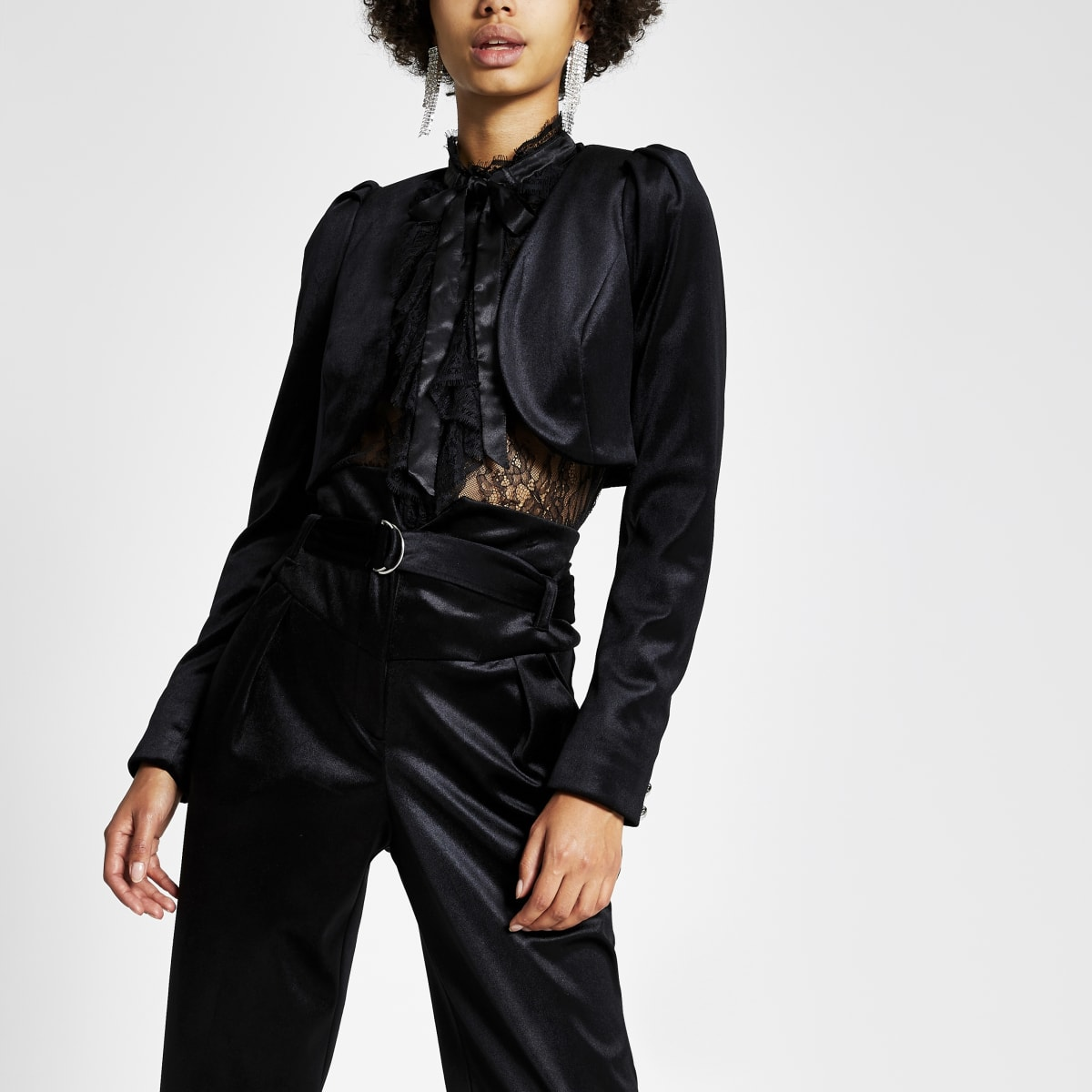 Black velvet cropped long sleeve jacket