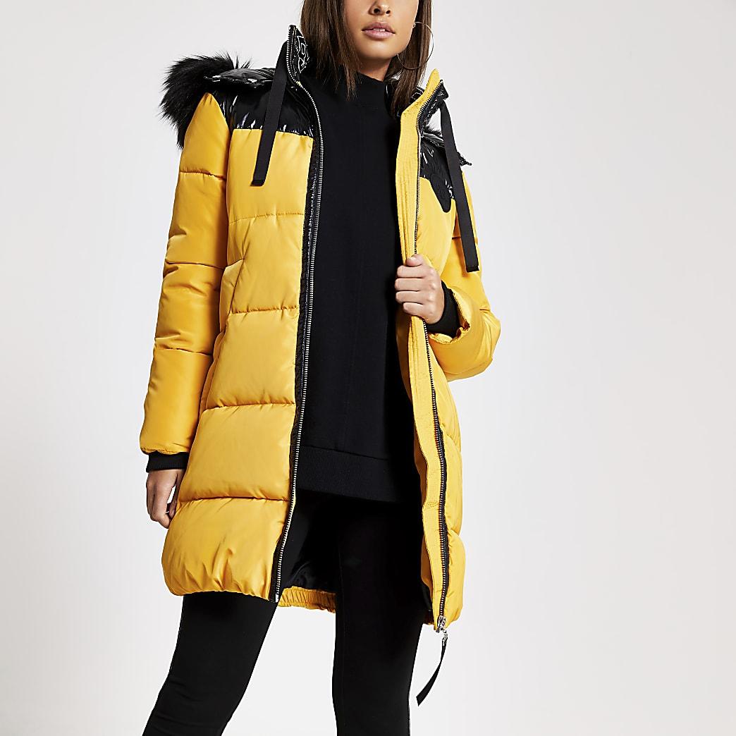 Yellow faux fur hood longline padded jacket