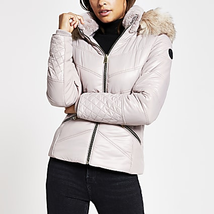 Light pink faux fur hood padded jacket