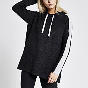Grijze gebreide hoodie met kleurvlakken