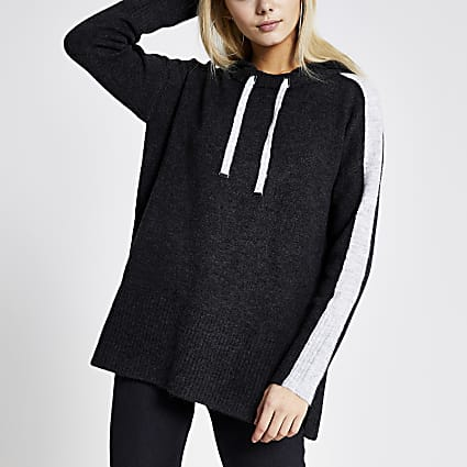 Grey colour blocked knitted hoodie