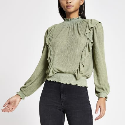 Light green frill front pointelle top
