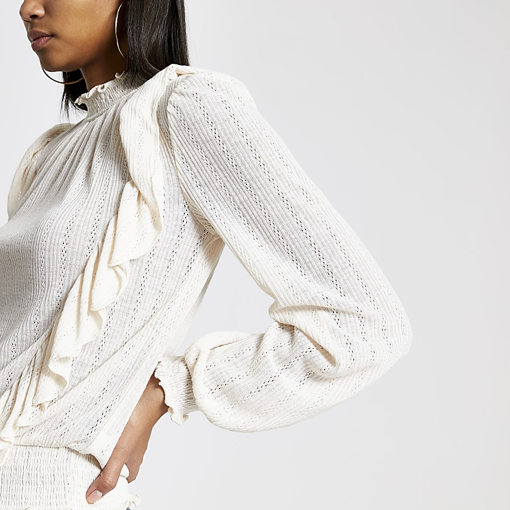 Light cream frill front pointelle top
