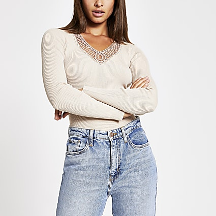Cream embroidered V neck ribbed top