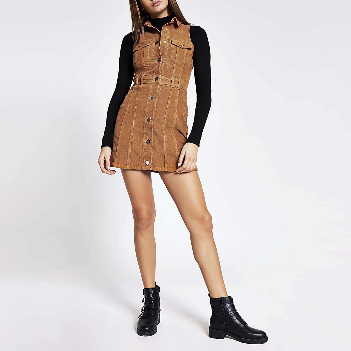Brown corduroy sleeveless shirt mini dress