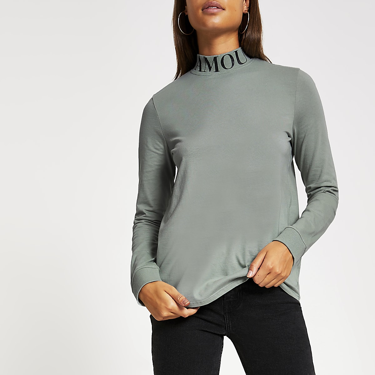 Green 'L'amour' printed high neck T-shirt