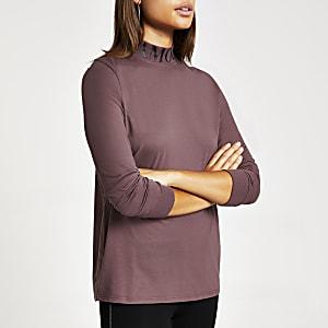 Paars hoogsluitend T-shirt met 'L'amour'-print
