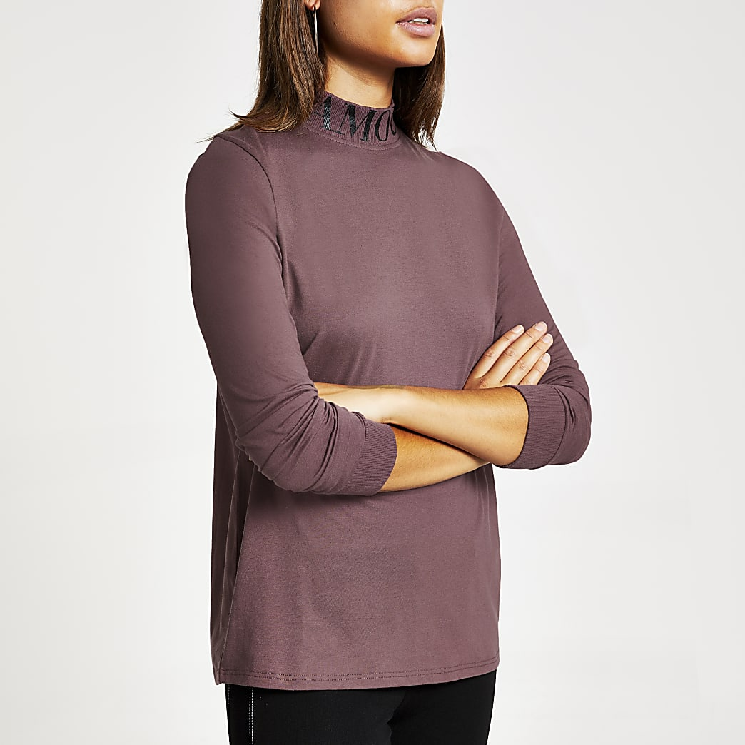 Purple 'L'amour' printed high neck T-shirt