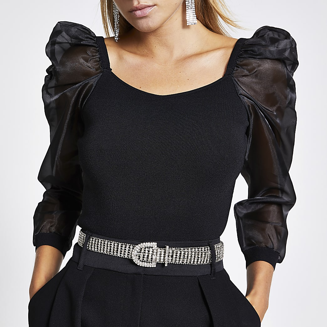 Black organza puff sleeve top
