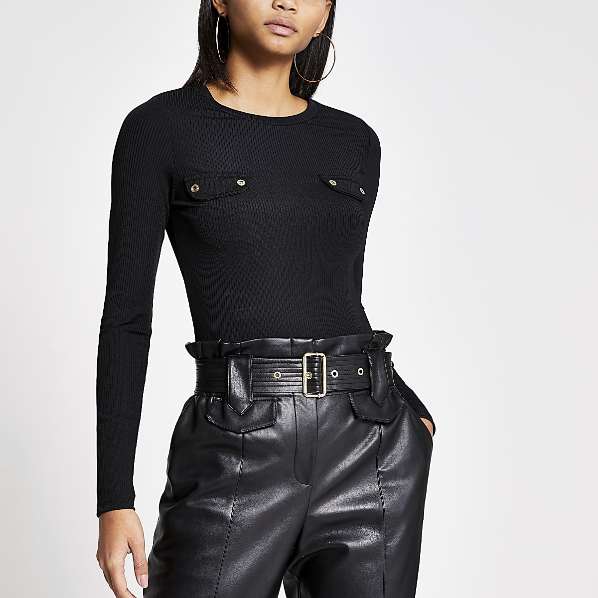 Black long sleeve chest pocket ribbed top
