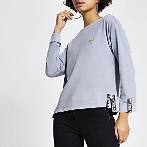 Blauwe sweater met lange mouwen en RI-bies