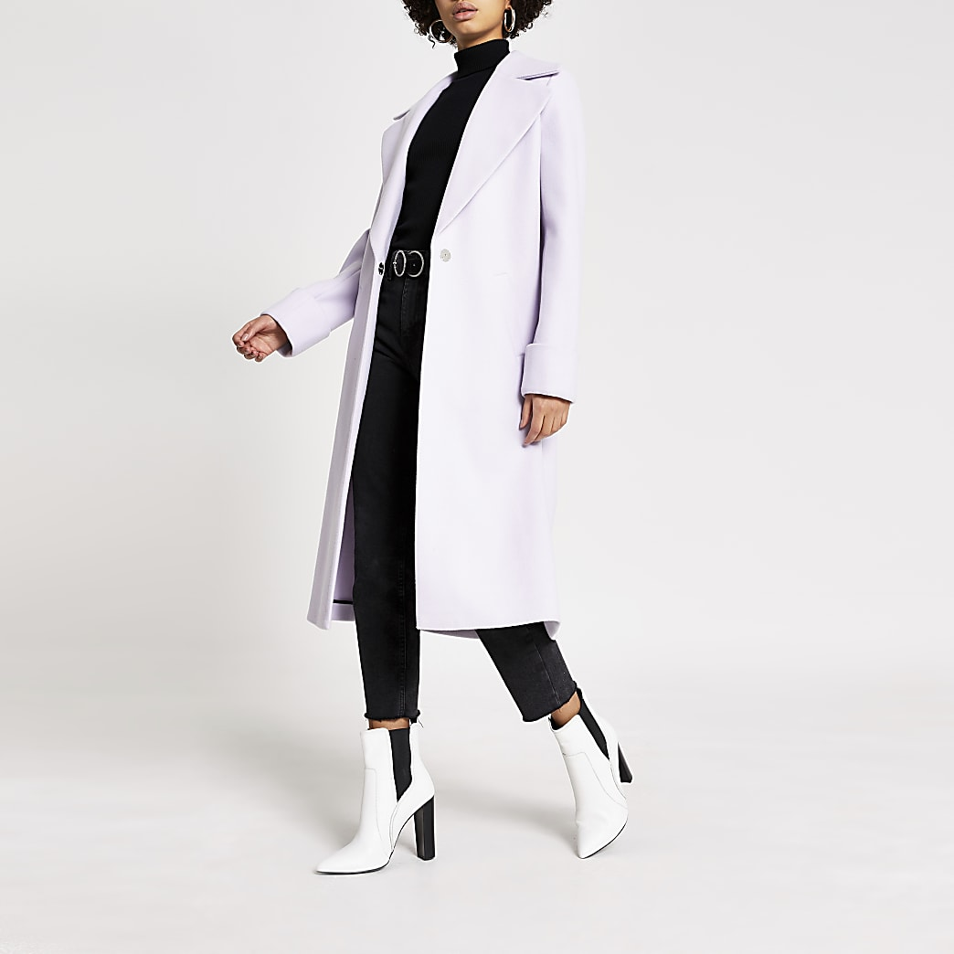 Purple longline single breasted coat