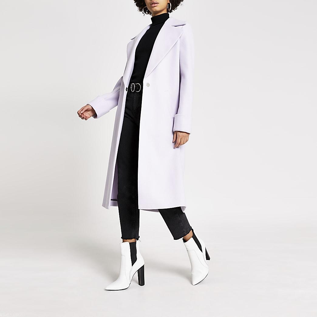 Manteau droit long violet