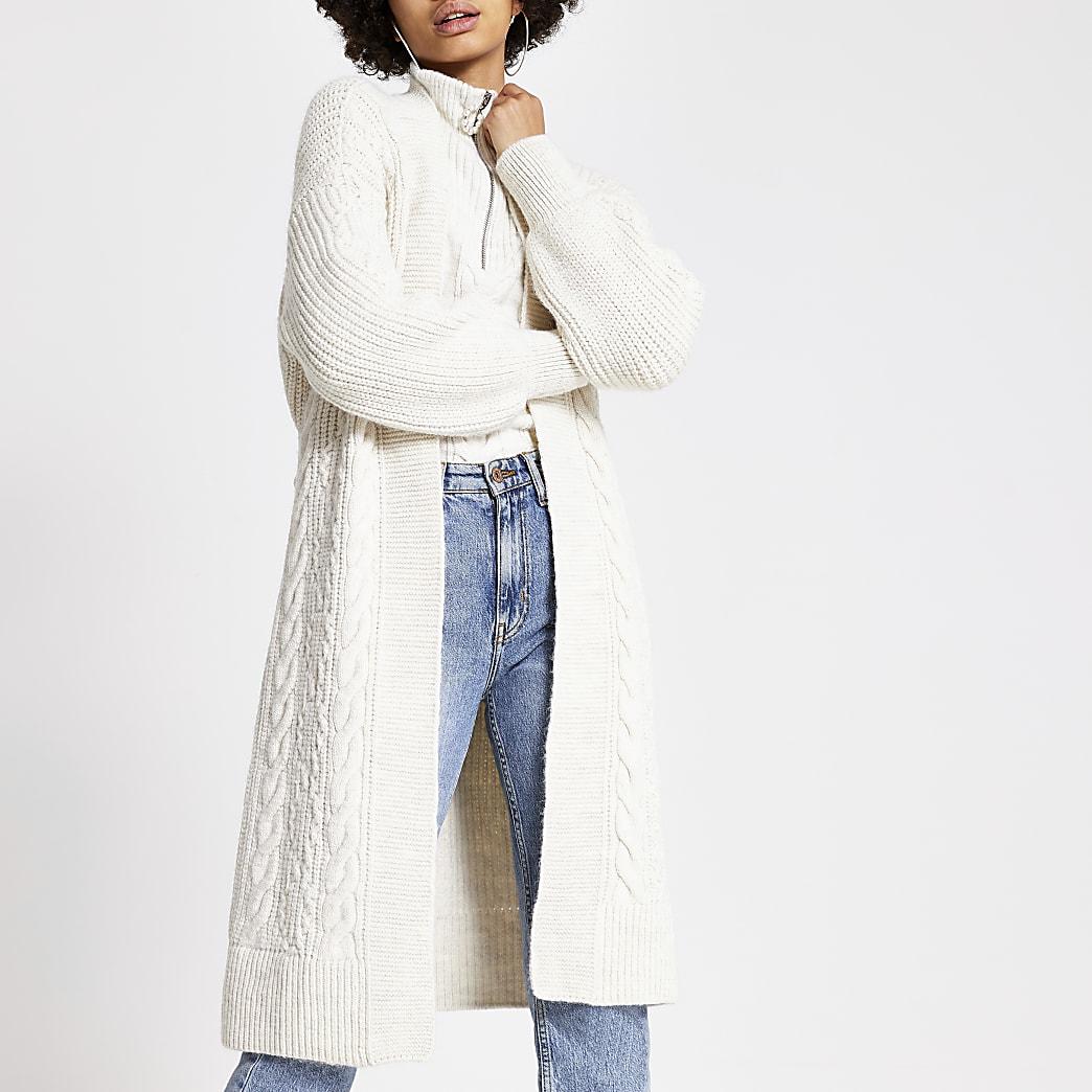 Cardigan très long en maille torsadée crèmeavec ceinture