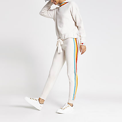 Cream rainbow stripe knitted joggers