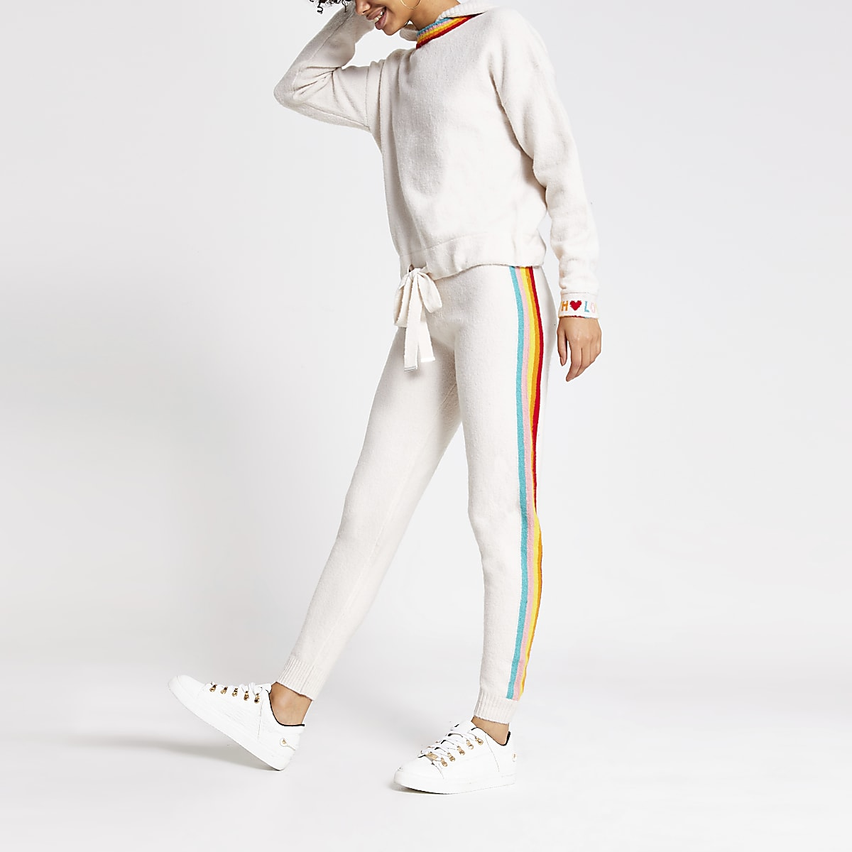 Cream rainbow stripe knitted joggers