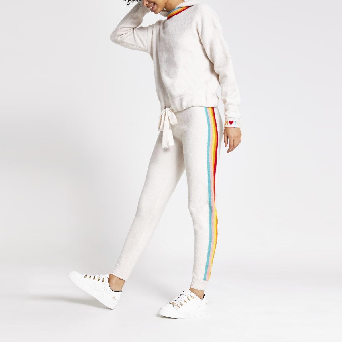 Pantalons de jogging en maille crèmeà bande arc-en-ciel