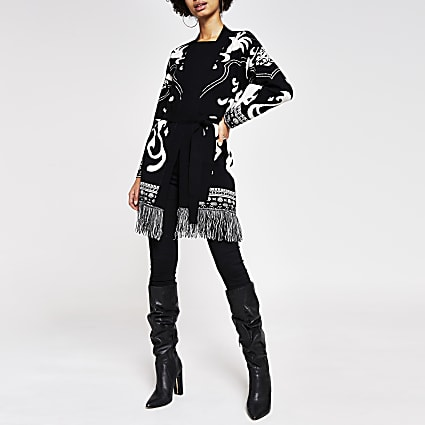 Black baroque printed tassel knit cardigan