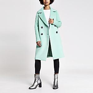 Manteau long croisé bleu vif