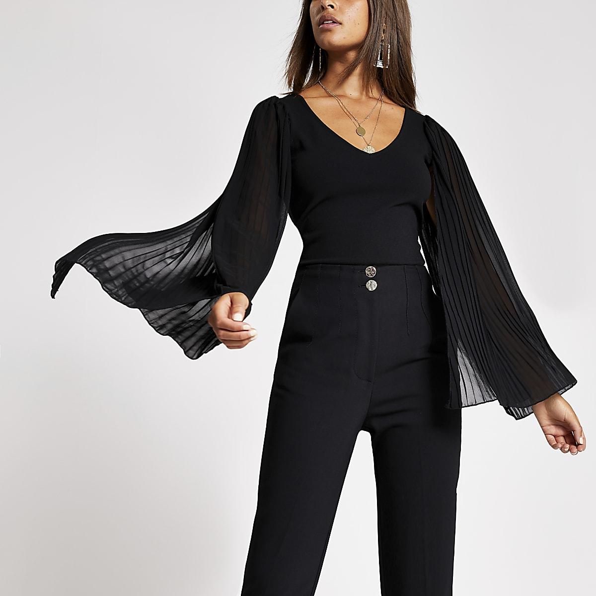 Black long sheer pleated sleeve V neck top
