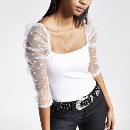 White long polka dot mesh puff sleeve top