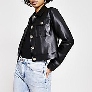 Veste courte en cuir synthétique noir