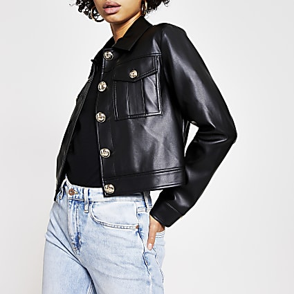 Black faux leather cropped jacket