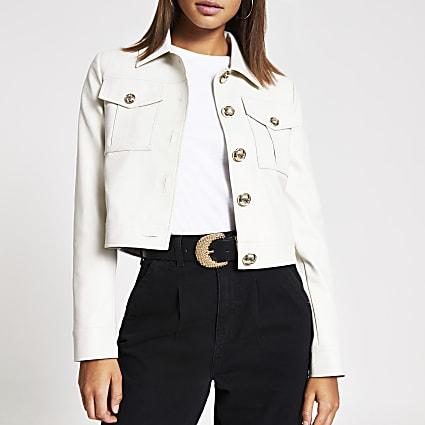 Stone faux leather cropped jacket