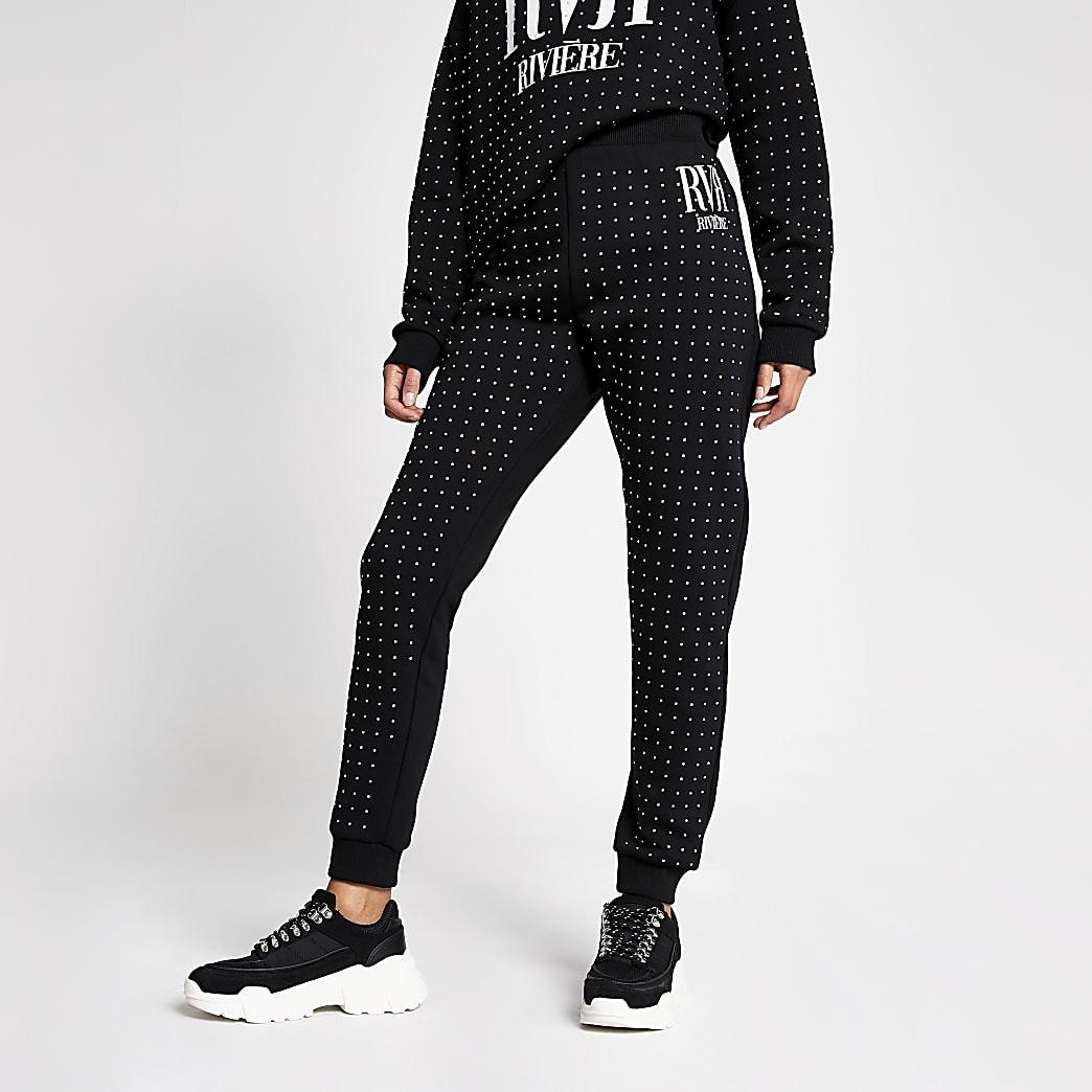 Pantalons de jogging noirs ornés de strass