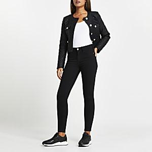 Amelie – Schwarze, mittelhohe Skinny Jeans