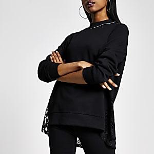 Schwarzes Sweatshirt mit Strass und Kragen mit Spitzenrand