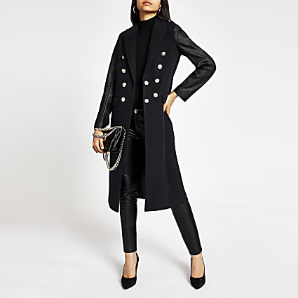 Navy faux leather sleeve longline coat