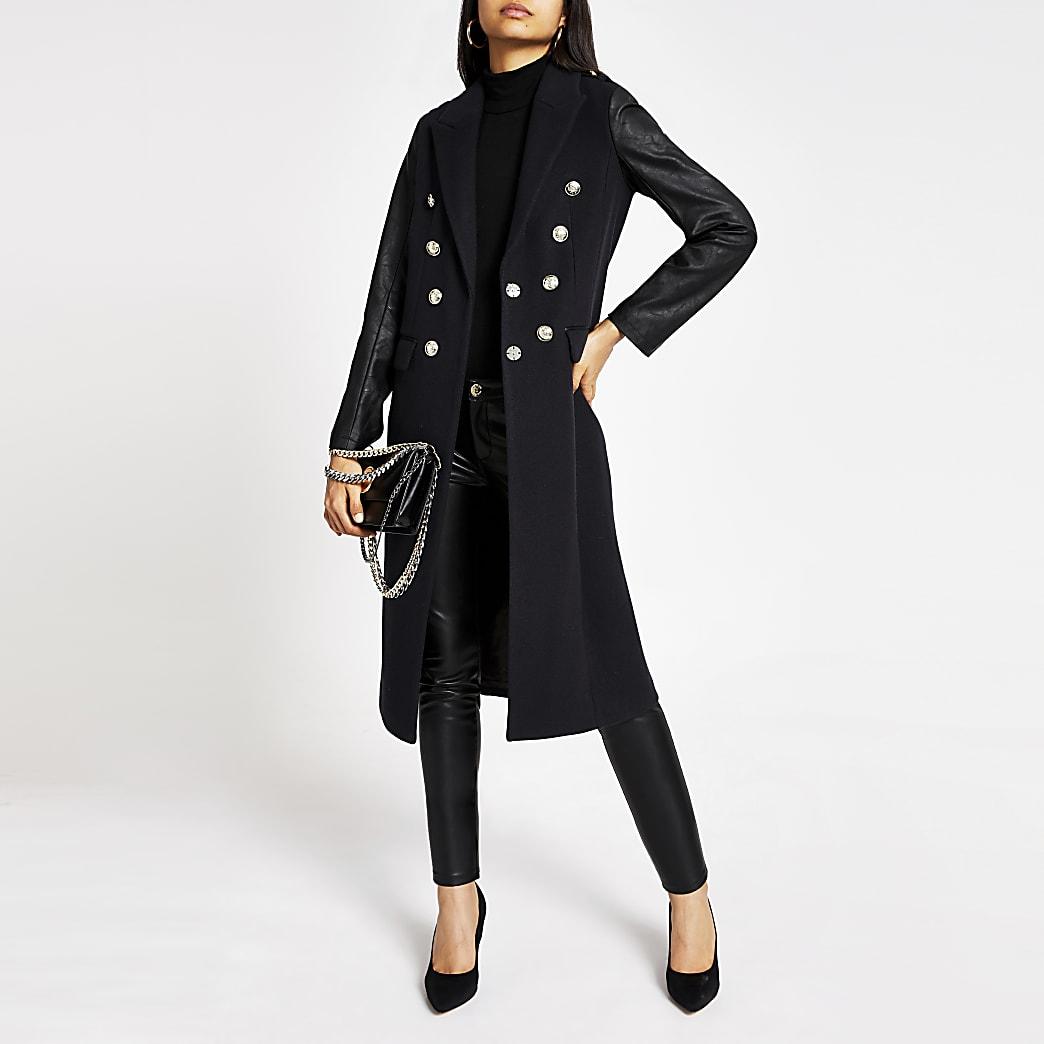 Navy faux leather sleeve longline coat