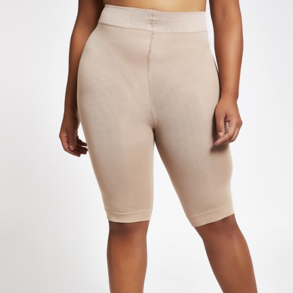 Beige 90 denier plus size anti chafing shorts