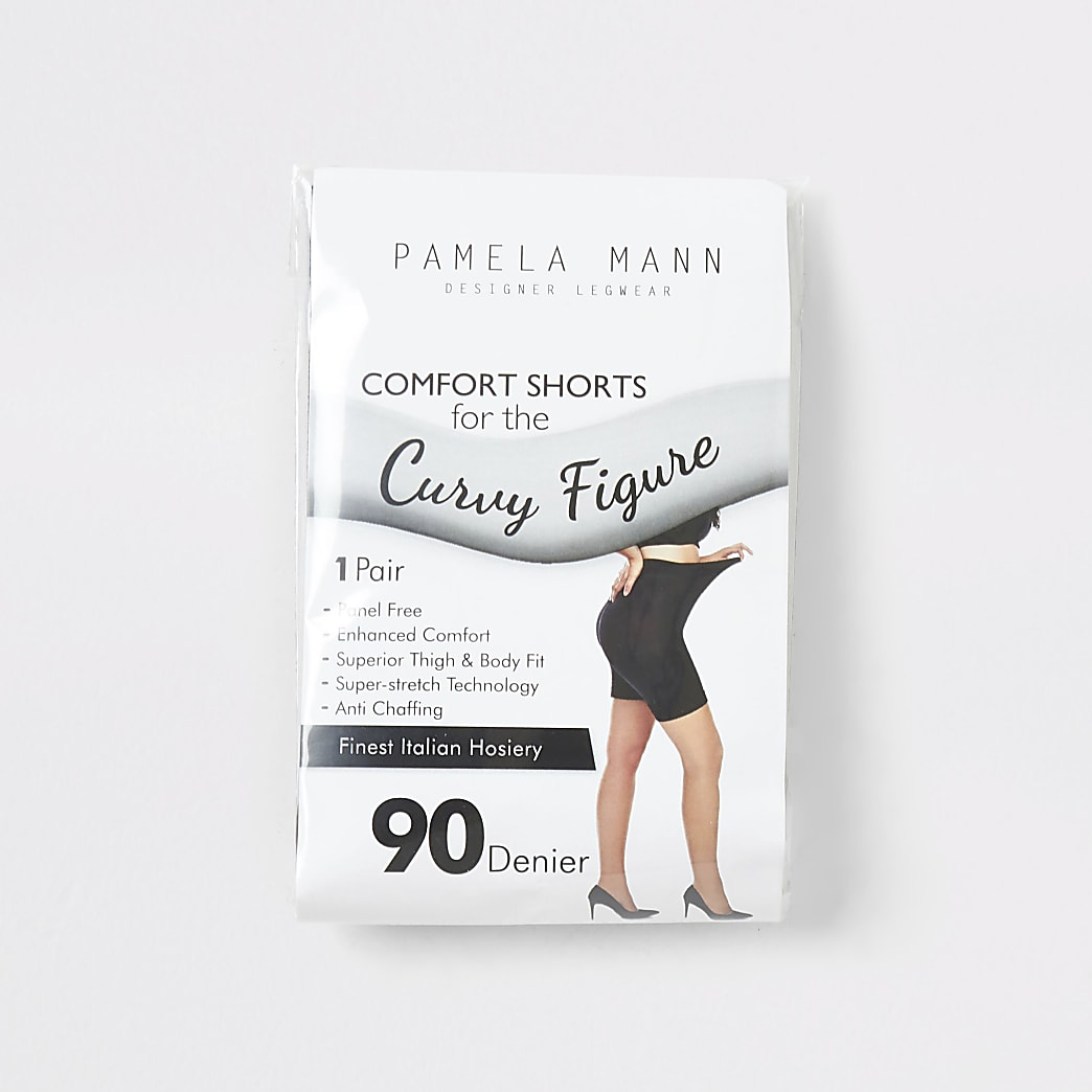 Schwarze Anti-Chafing-Shorts, 90 Denier