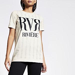 Beige boyfriend T-shirt met RVR-tekst en siersteentjes