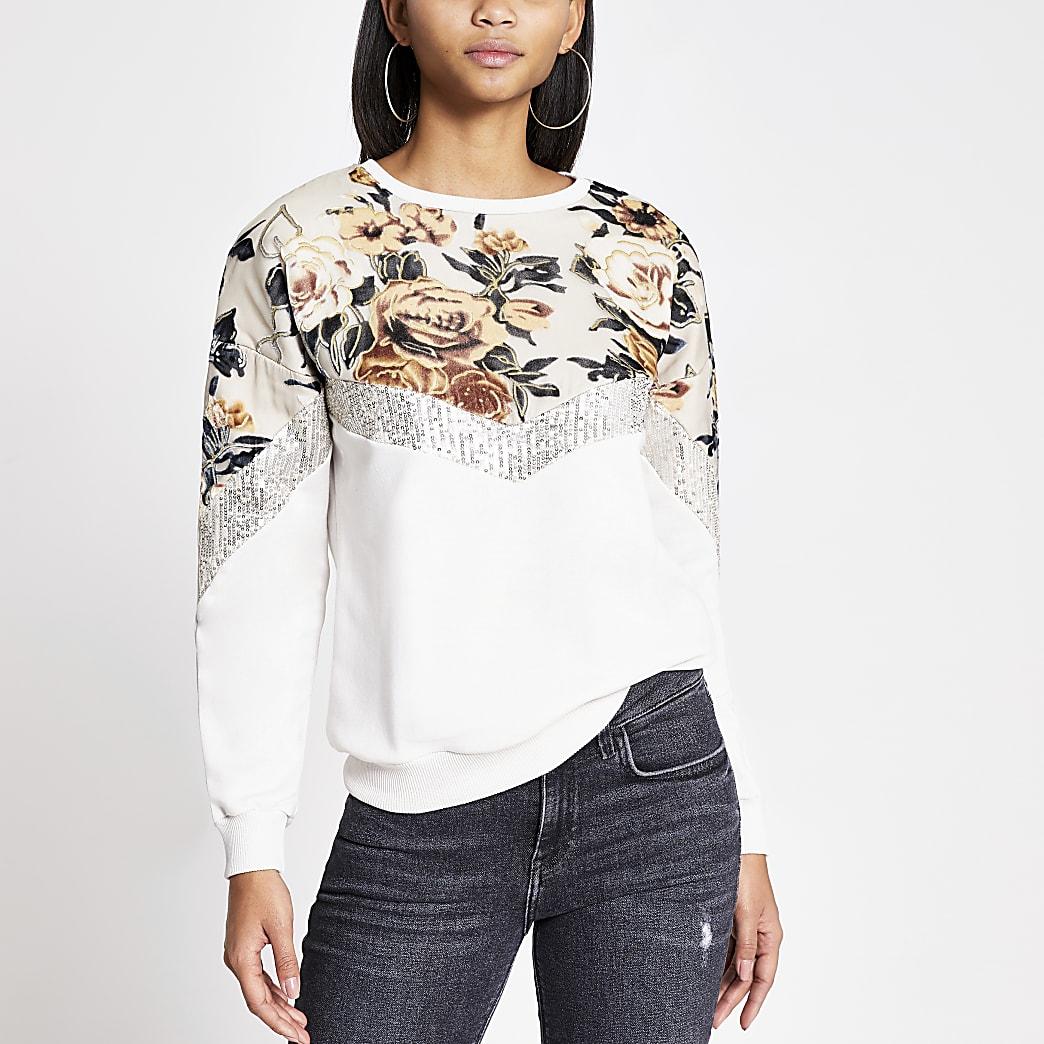 Cream blocked devore sequin sweatshirt