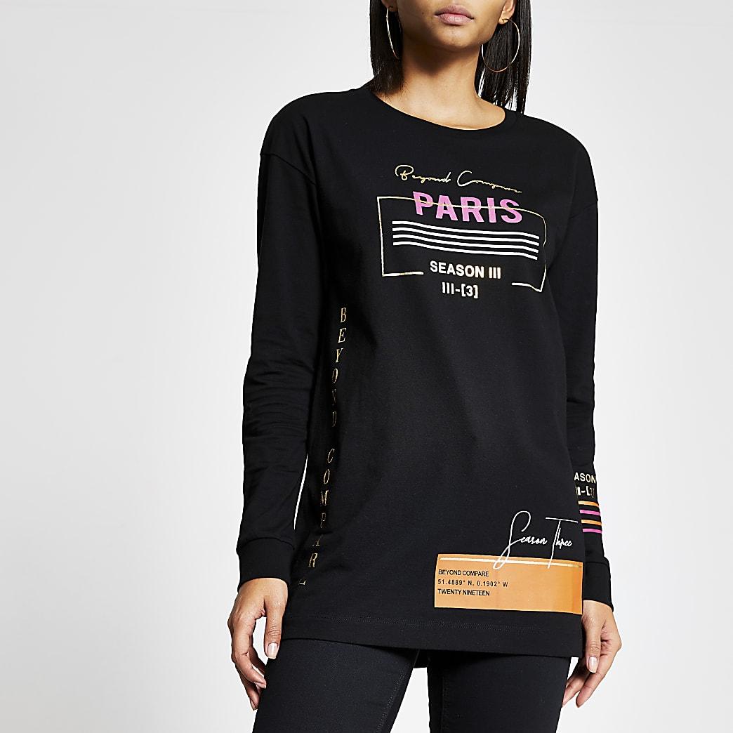 T-shirt boyfriend noir impriméà manches longues