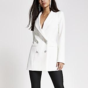 Witte double-breasted blazer met siersteentjes franje