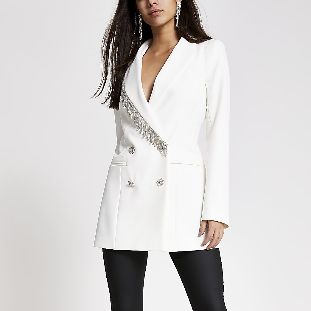 White diamante fringe double breasted blazer
