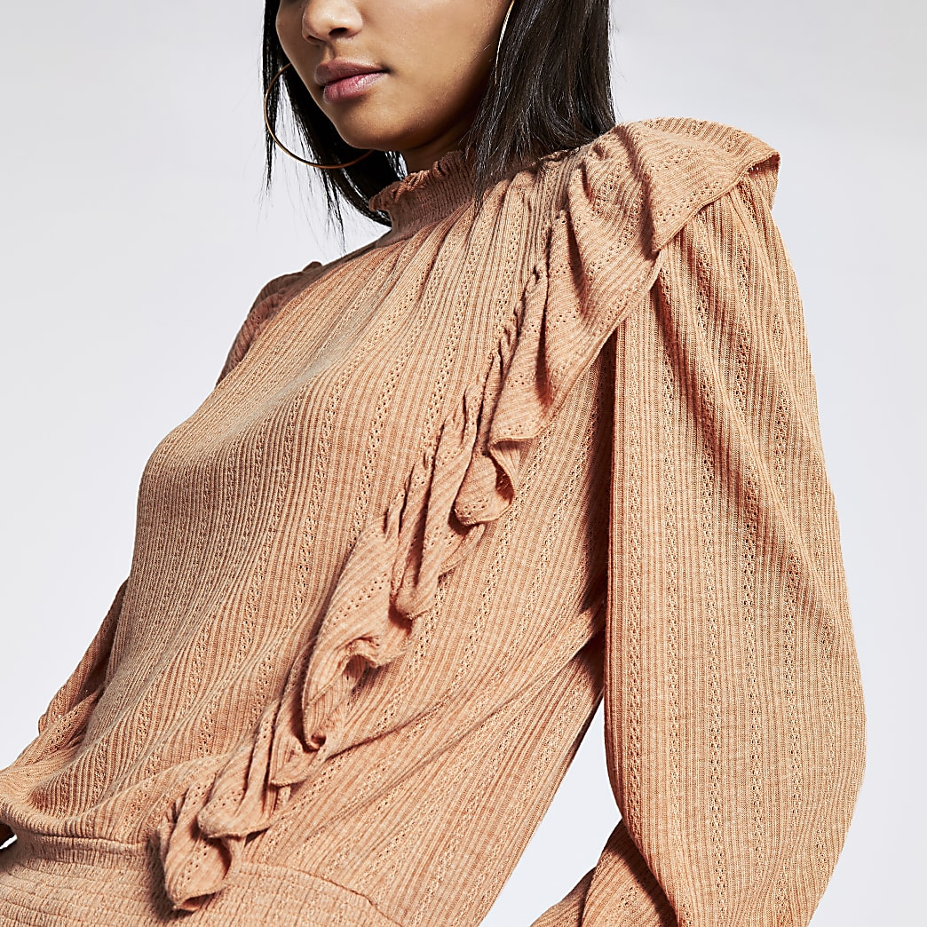 Pink pointelle frill long sleeve shirred top
