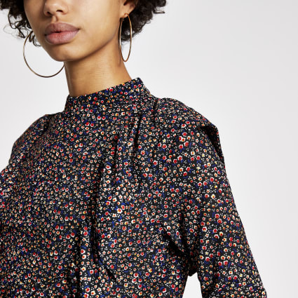 Black ditsy print long sleeve frill neck top