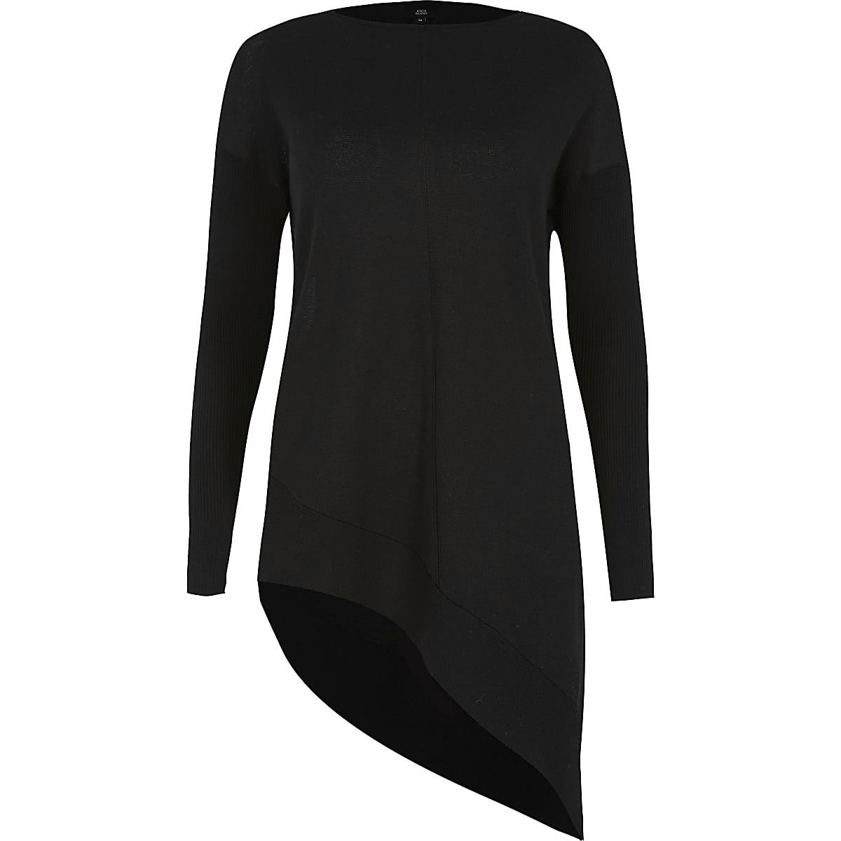 choose best exquisite design hot-selling discount Black asymmetric hem long sleeve jumper