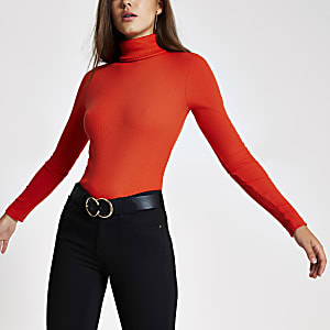 Orange long sleeve roll neck ribbed top
